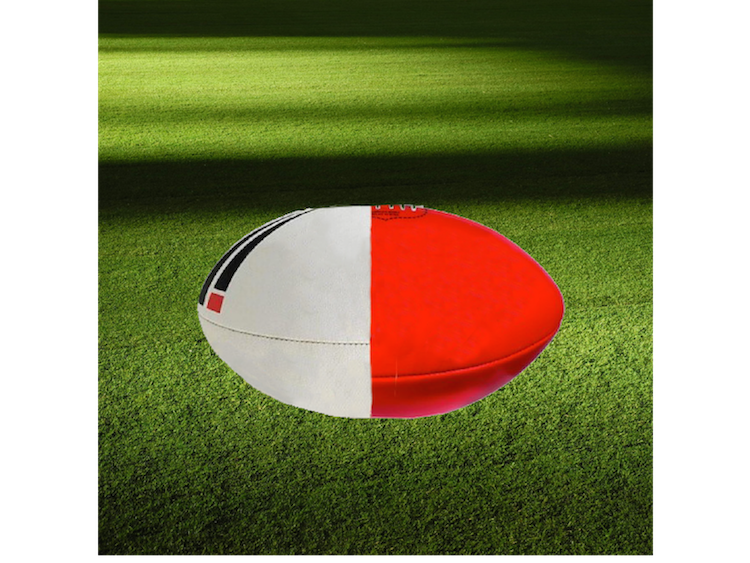 half afl and half rugby ball joined together
