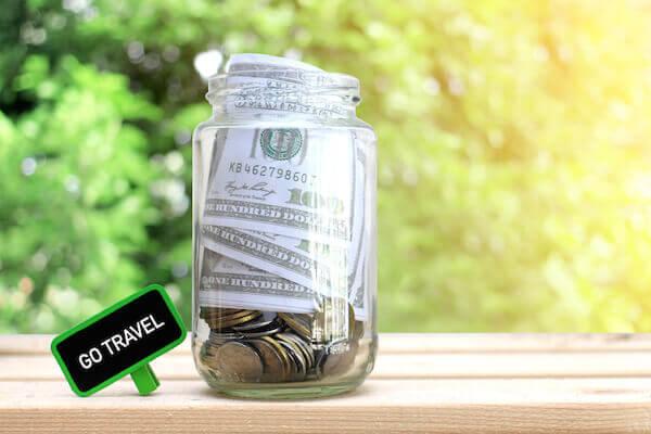 travel money in a jar
